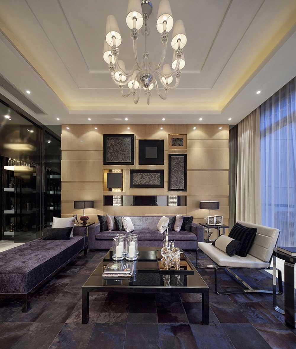 现代典雅低奢客厅设计美图-兔狗装修效果图