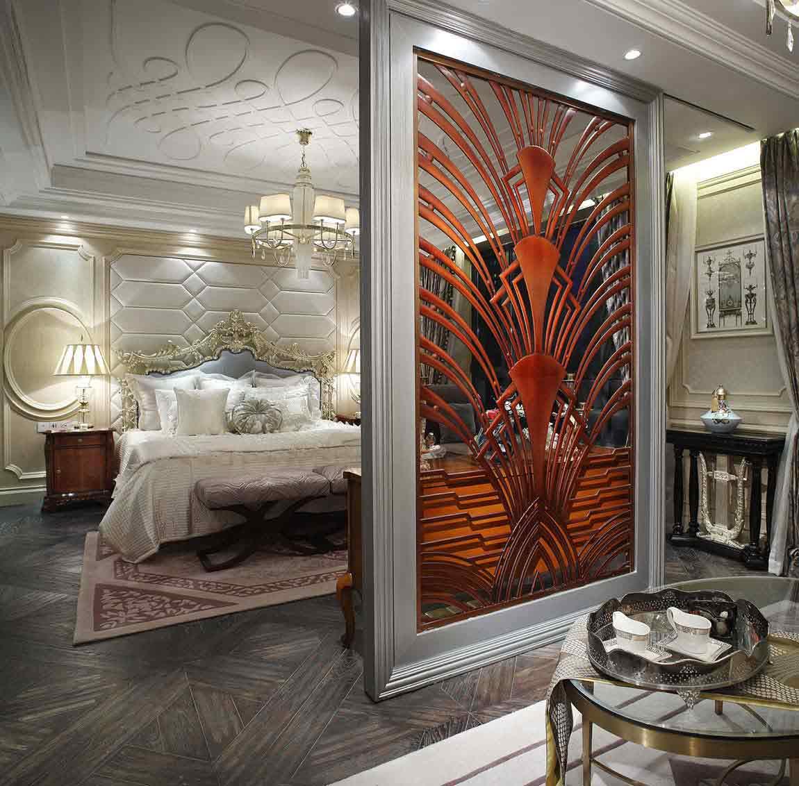 欧式复古典雅卧室隔断设计欣赏-兔狗装修效果图