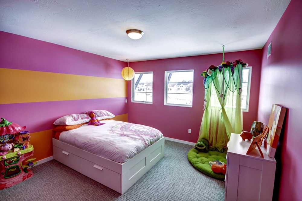 粉色系唯美卧室设计装潢-兔狗装修效果图