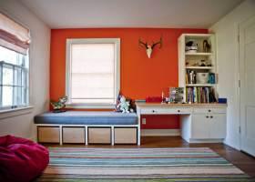 色彩鲜明简约风格书房设计实例