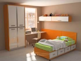 温暖橙色系简约风格儿童房装饰设计