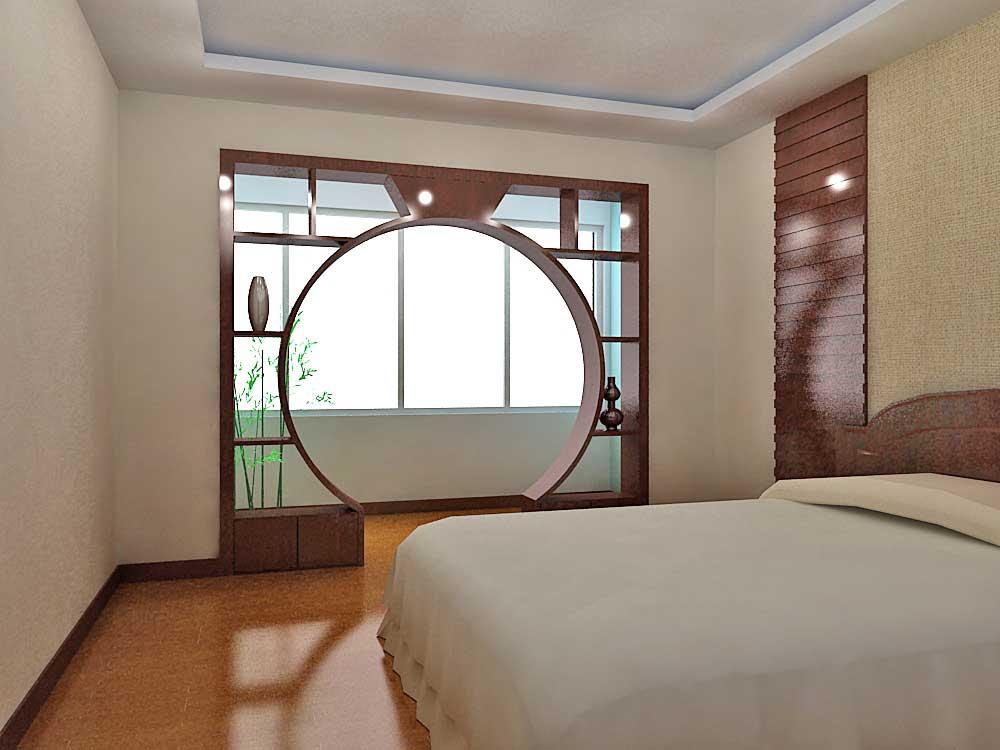 简约中式古典卧室设计欣赏-兔狗装修效果图图片