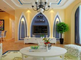 休闲创意设计地中海式背景墙装潢