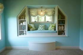 蓝色清爽美式飘窗别致设计