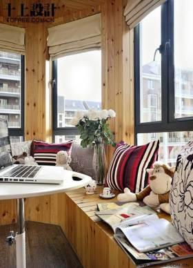 现代原木风格休闲飘窗设计图