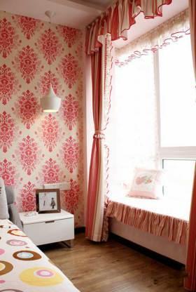 粉色浪漫现代飘窗设计图