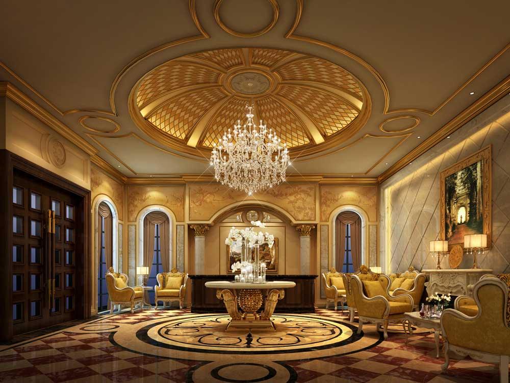 奢华金色欧式古堡客厅设计欣赏图片