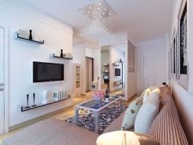 粉色温馨简约客厅装修效果图