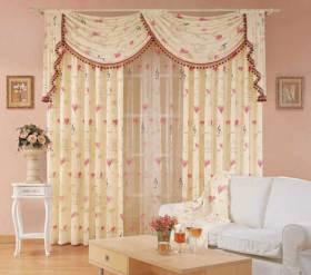黄色碎花田园客厅窗帘图片