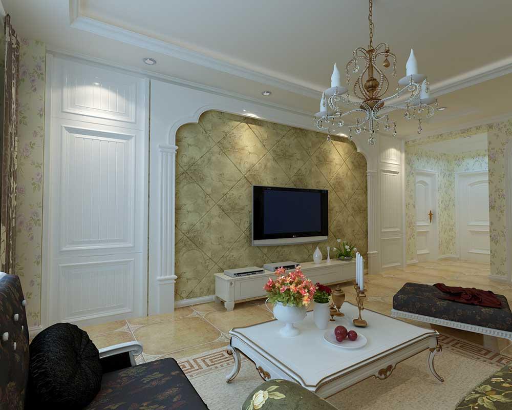欧式大气白色典雅客厅背景墙设计