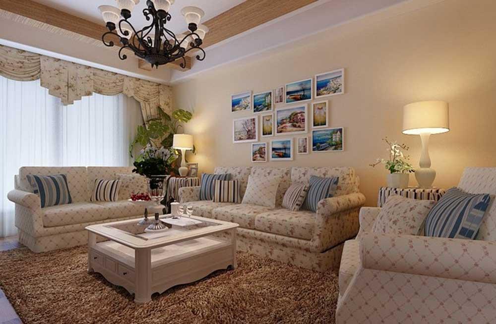 田园风格白色碎花客厅装潢设计