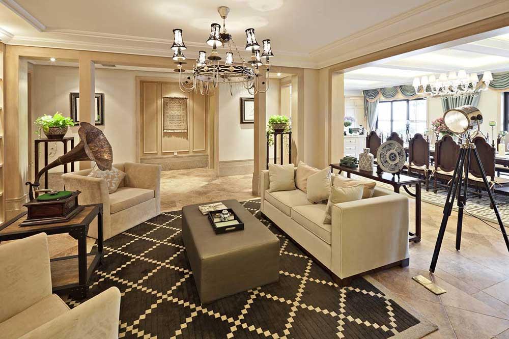 精致典雅美式风格客厅装饰布置图片