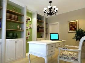 欧式风格清新绿色书房装修图片