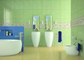绿色清新现代风格卫生间创意装饰