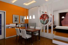 多元素简约风餐厅装饰设计图