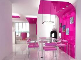 粉色浪漫现代风格餐厅设计效果图