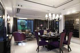 紫色浪漫简欧风格餐厅设计