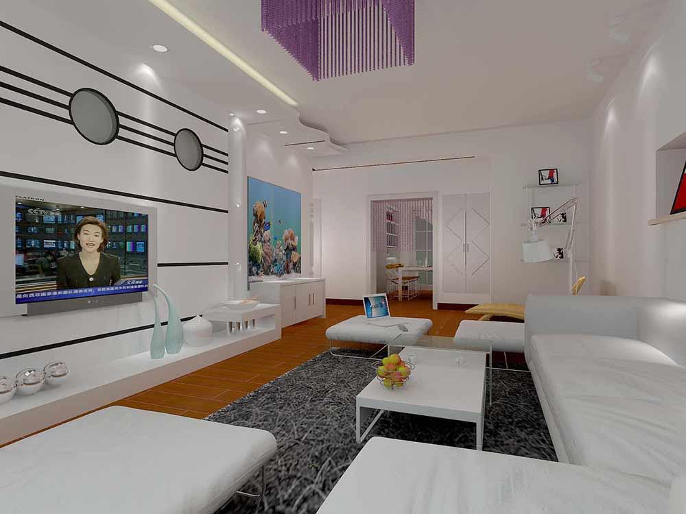 白色简约现代风格客厅装修