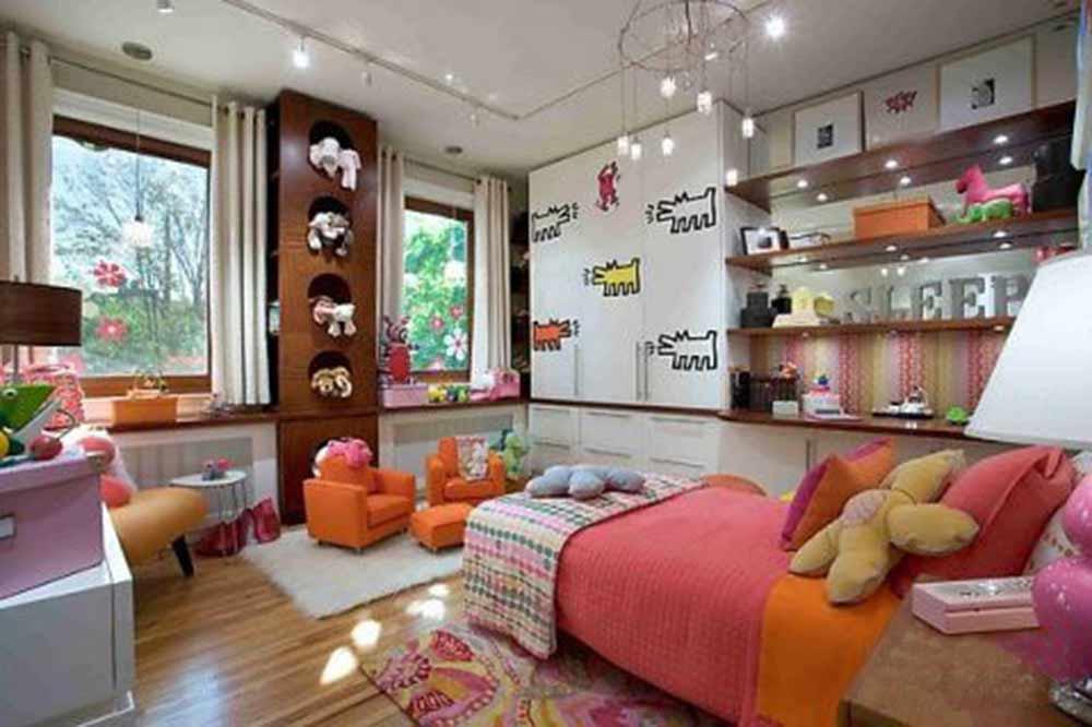 甜美可爱现代风格儿童房室内效果