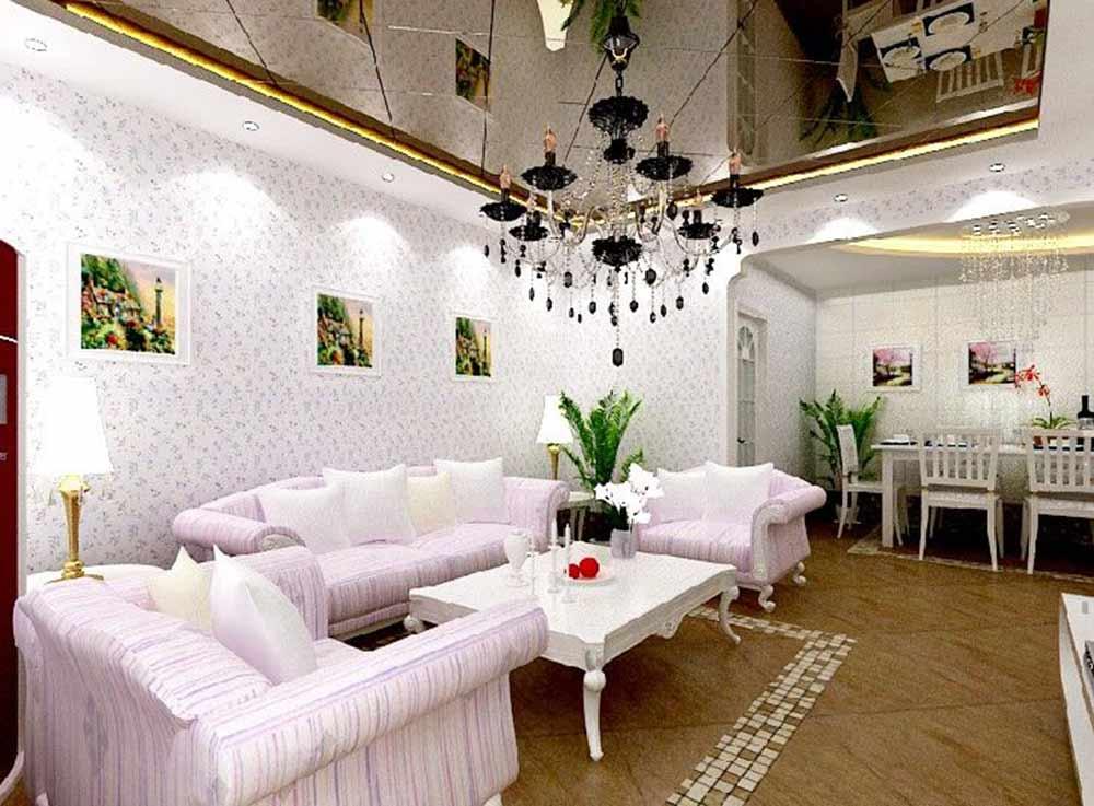 精致华丽欧式田园风格客厅装潢设计