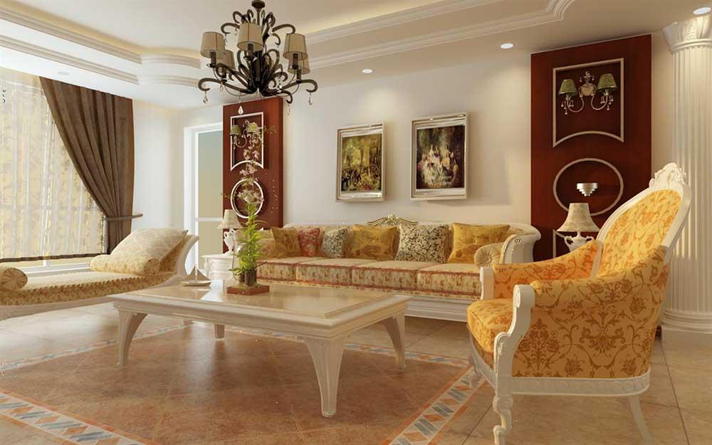 欧式田园简洁客厅布置欣赏