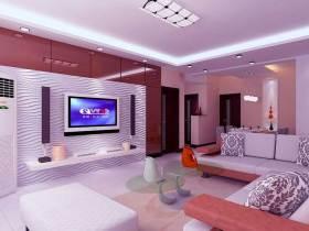 现代大气时尚粉色唯美客厅装修