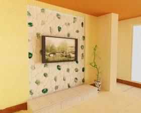 自然绿色清爽现代风格电视背景墙展示