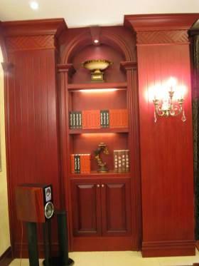 沉稳实木风格美式书柜设计