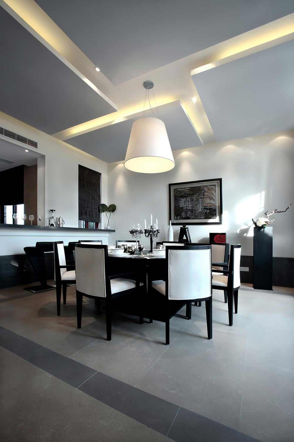 雅韵时尚黑白新中式风格餐厅装修
