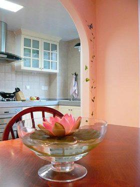 清新粉色现代厨房装修设计