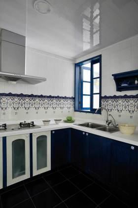 清爽蓝色东南亚风格厨房装设计美图