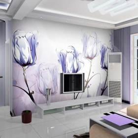 浪漫郁金香现代风格电视背景墙装修