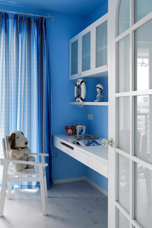 蓝色海边风现代简约儿童书房设计