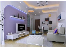 紫色时尚现代风格客厅装修展示