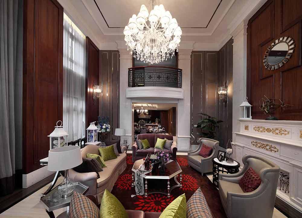 装修案例 美式别墅现代质感装潢设计  经典的美式壁炉和背景墙装饰没