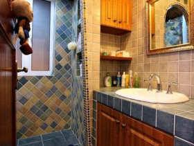 田园风蓝色卫生间精致设计