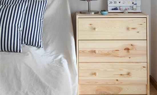 田园清新风格卧室床头收纳柜设计