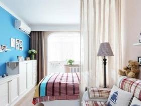 蓝色田园风小户型卧室装修效果图片