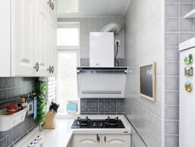 清爽田园风格细长型厨房装修案例