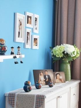 田园清新风蓝色照片背景墙设计