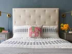 简约蓝色双人卧室温馨设计