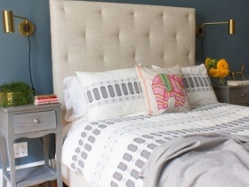 蓝色系小户型卧室简约装修图片