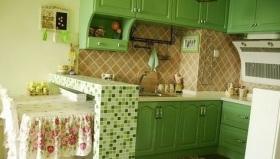 绿色田园风格厨房装修效果图