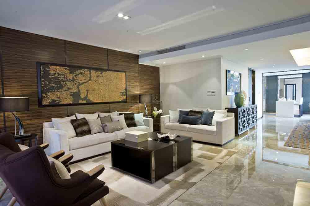 黑白色系新中式客厅装潢设计案例
