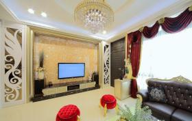 新古典黄色背景墙装修装饰