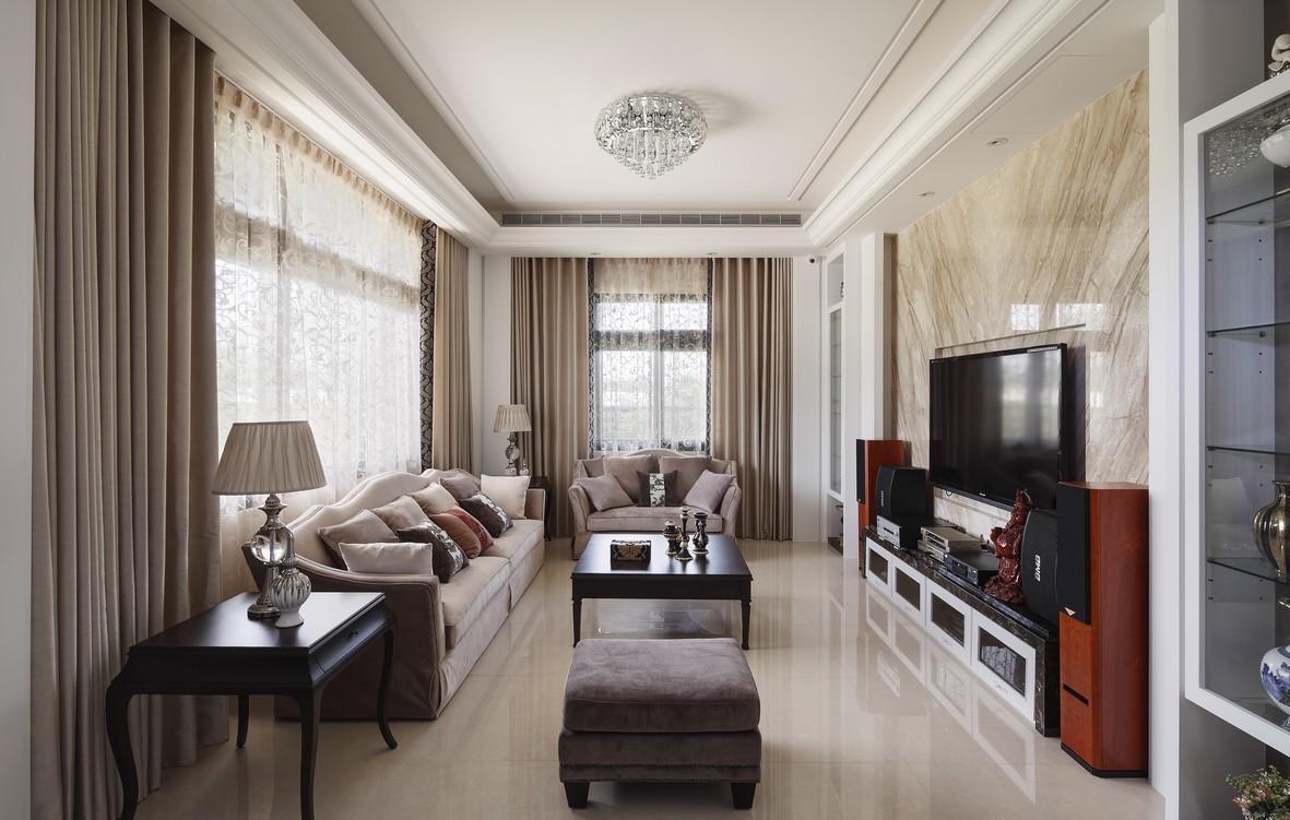 别墅装修效果图  相对于一楼客厅的华美