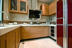 现代中式原木自然厨房设计