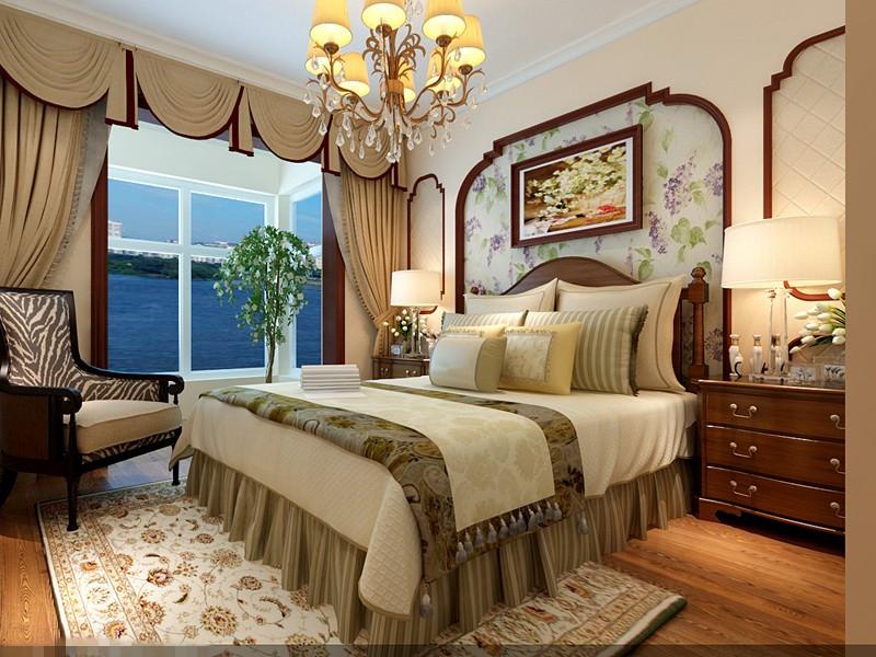 传统元素美式特色三居室装修设计图片大全图片