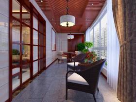 中式典雅大方阳台装修效果图