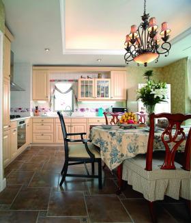 优雅田园风格厨房装修整体效果图